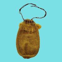 Vintage 1920's Brown & Yellow Crocheted & Beaded Reticule Purse