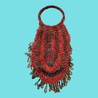 Unique Vintage 1920's Iridescent Red & Black Beaded Purse w/Hoop Handles