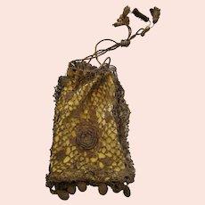 Antique Edwardian Brown Crocheted Floral Design Reticule Purse