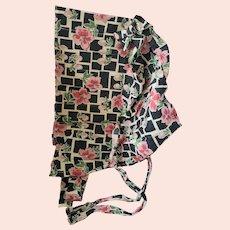 Vintage Mid 20th Century Floral Print Pioneer Bonnet
