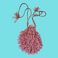 Tiny Vintage Crocheted & Beaded Sparkly Pink Reticule Purse