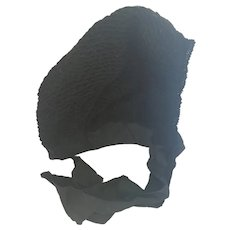 Antique Victorian Black Ladies' Winter Mourning Bonnet #1