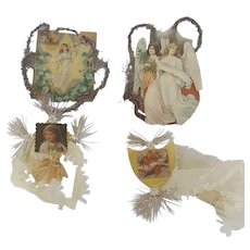 Group of 4 Antique 19th C. Scrap Tinsel Ornaments