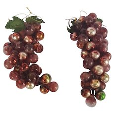 """Pair of Vintage 8"""" Red Grape Clusters Christmas Decor"""