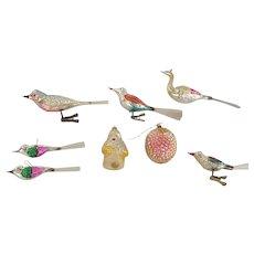 8 Vintage Mercury Glass Christmas Ornaments inc. 6 Birds, Santa, & Raspberry