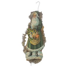 Antique Victorian Folk Art Double-Sided St. Nicholas/Santa Claus Scrap Tinsel Ornament