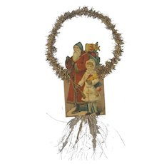 Antique Victorian Folk Art St. Nicholas/Santa & Girl Scrap Tinsel Ornament #1