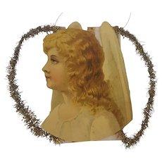 Antique Victorian Folk Art Angel in Profile Scrap Tinsel Ornament