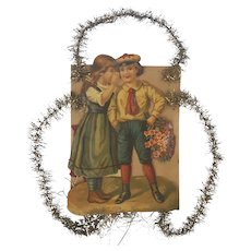 Antique Victorian Folk Art Girl & Boy Scrap Tinsel Ornament #2