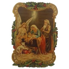 Antique Victorian Folk Art Nativity Scrap Tinsel Ornament #2