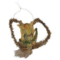 Antique Victorian Folk Art Heart-Shaped Angel with Garland Scrap Tinsel Ornament