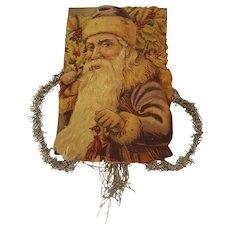 Antique Victorian Folk Art Blue St. Nicholas/Santa Scrap Tinsel Ornament
