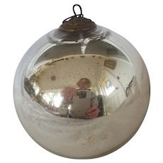 Antique German Silver Kugel Christmas Ornament