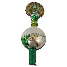 Unusual Vintage Mercury Glass Peacock Christmas Tree Topper