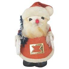 Cute Vintage Spun Cotton & Cardboard Santa Claus Figure