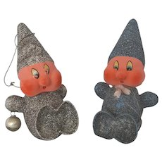 2 Vintage 1940's Glittered Composition Elf/Gnome/Dwarf Christmas Ornaments