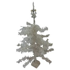 Vintage German Silver Mercury Glass Christmas Tree Topper w/ Bells & Wire