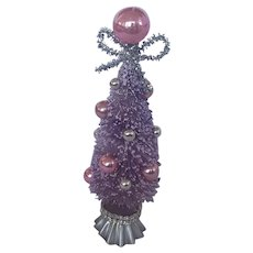 Vintage Embellished Lavender Bottle Brush Christmas Tree