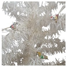 3 Vintage Silver Mercury Glass Bird Christmas Ornaments