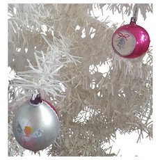 2 Vintage Mercury Glass Fuchsia & Silver Christmas Ornaments with Painted Bell and Angel