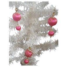 3 Vintage Fuchsia Satin & Gold Mercury Glass Christmas Ornaments
