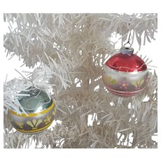 2 Vintage Mercury Glass Shiny Brite Christmas Ornaments