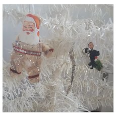 3 Vintage Christmas ornaments, Raw Wool Santa, Twisted Silver Icicle, & Man Riding Pig