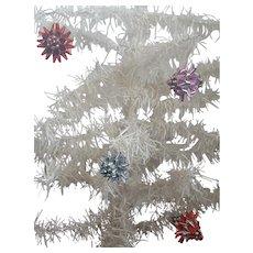 4 Vintage Colored Foil Stylized Flower Christmas Ornaments
