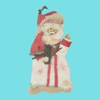 Antique Victorian Folk Art Spun Cotton & Scrap Tinsel Santa Xmas Ornament