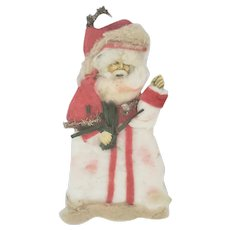 Antique Victorian Folk Art Spun Cotton & Scrap Tinsel Santa Xmas Ornament