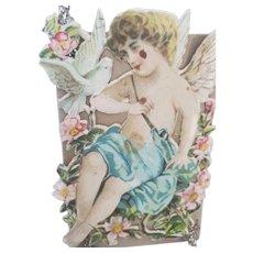 Antique Victorian Folk Art Angel Scrap Tinsel Ornament #1