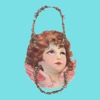 Antique Victorian Folk Art Angel Scrap Tinsel Ornament #2