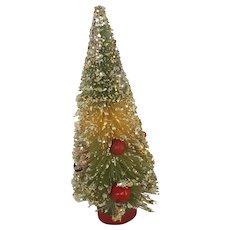 Vintage Mid-20th Century Green & White Bottle Brush Christmas Tree