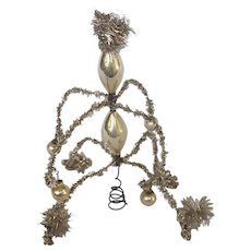 Vintage Silver Tinsel & Mercury Glass Feather Christmas Tree Topper