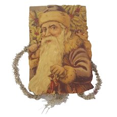 19th C. Santa in Brown Coat Scrap Tinsel Ornament