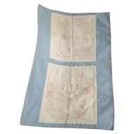 Vintage Handmade Newborn Baby Quilt with Embroidered Redwork Nursery Rhyme Designs