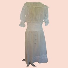 Early 1900's  Edwardian White Sheer Cotton Day Dress