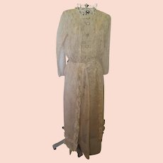 Early 1900's Edwardian Sheer Print Floral Cotton 2-Piece Skirt & Matching Tunic/Blouse