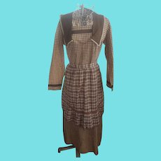 Antique Early 1900's Brown & Cream Check Dress w/ Apron