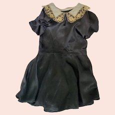 Vintage 1930's Little Girl's Black Satin Dress with Lace Collar