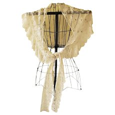 Exquisite Antique Victorian Tulle Shawl Enhanced with Embroidery & Iridescent Sequins
