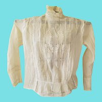 Sweet Antique Victorian Sheer White Cotton Ladies' Blouse w/Lace Insets & Embroidery