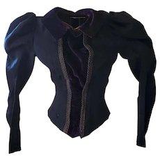 Antique Victorian Dark Blue Knit & Velvet Long Sleeve Blouse