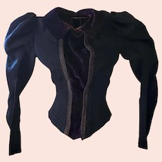Antique Victorian Dark Blue Knit & Velvet Long Sleeve Blouse