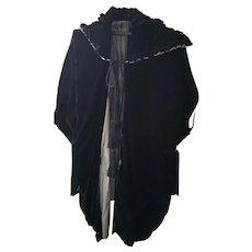 Elegant Antique Edwardian Black Velvet Opera Coat