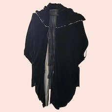 Elegant Antique Edwardian Black Velvet Opera Coat