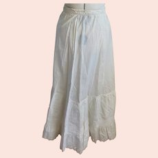 Sweet Antique Edwardian Long White Skirt/Underskirt w/Eyelet Ruffle