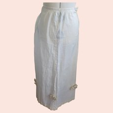 Sweet Antique Early 1900's Handmade Skirt With Lace Flowers