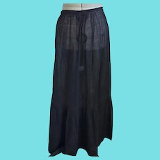 Antique Victorian Black Cotton Mourning Skirt/Underskirt #2