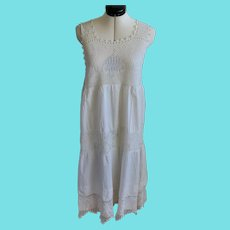 Adorable Antique Handmade Nightgown or Slip w/ Crocheted Peacocks, Urn & Dancers